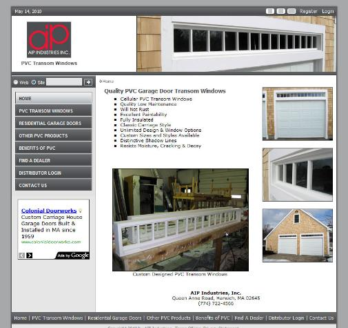 Pvc Garage Door Transom Windows Pvc Products Harwich Ma