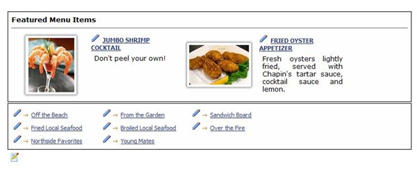 The menu landing page is capiable of displaying Menu Specials  and category types.